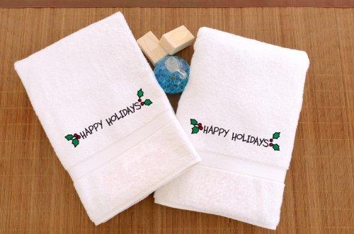 Linum Home Textiles Lot de 2 essuie-mains brodés avec décoration Happy Holidays Blanc Taille unique