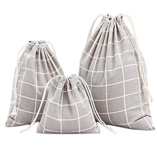 Namgiy Lot de 3 sacs à chaussures en coton avec cordon de serrage Treillis gris.