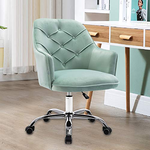 Homvent Velvet Home Office Chair,Modern Velvet Desk Task Chair Accent Armchair,Computer Desk Chair with Swivel and Adjustable,Accent Home Office Task Chair Executive Chair with Soft Seat (Might Green)