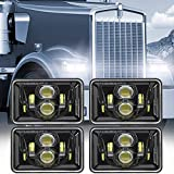 Auxbeam 60W 4x6 LED Headlights with Dot Approved Replacement H4651 H4652 H4656 H4666 H6545 for Peterbilt Kenworth Freightinger Ford Probe Chevrolet Oldsmobile Cutlass Trucks (4Pcs Black)