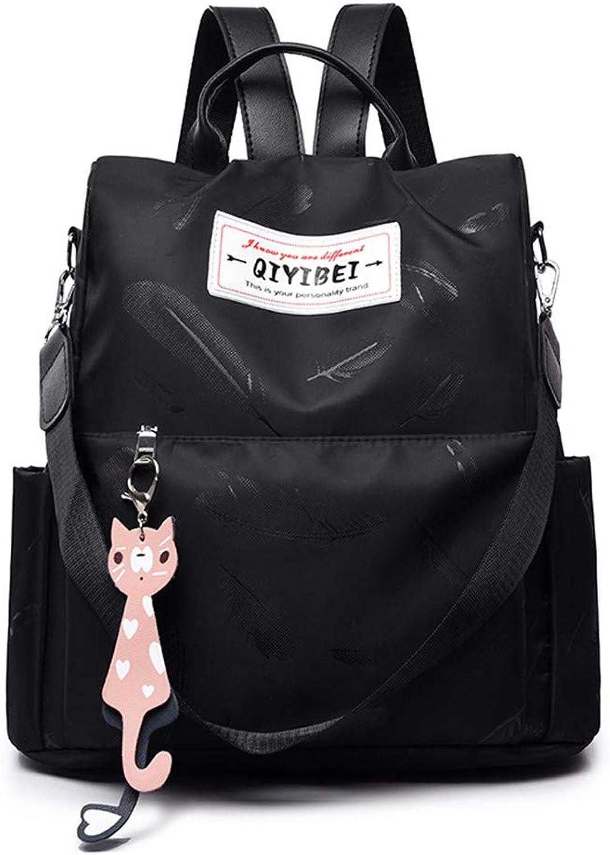 Shoulder Bag Oxford Cloth Bag Single Shoulder Dualuse Backpack Canvas Bag, Black B Casual Practical Simple
