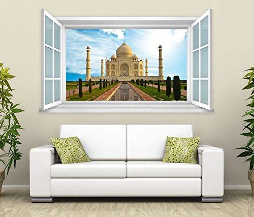3D Wandtattoo Fenster tadsch mahal Indien Wand Aufkleber Wanddurchbruch Wandbild Wohnzimmer 11BD1665, Wandbild Größe F:ca. 97cmx57cm
