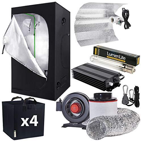 Complete Hydroponic Grow Tent Kit 1.2 x 1.2 x 2m - Digital 600w Watt Dimmable Ballast Grow Light Kit - Fabric Pots - Carbon Filter Kit