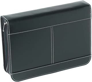 Black Zipper Pocket Reinforced Polyester Bible Cover Case, (Maxi) 2X-Large
