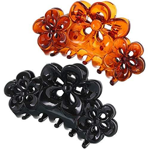 Lot de 2 pinces à cheveux antidérapantes en plastique pour queue de cheval - Convient pour la vie quotidienne comme les voyages, le bain, les travaux ménagers, etc.