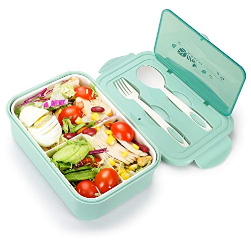Bento Box for Adults, SIPU 1400ML Bento Lunch Containers with Spoon and Fork for Kids, Leakproof and Shockproof, Microwave/Dishwasher/Freezer Safe, BPA-Free and Food-Safe Material (Green)