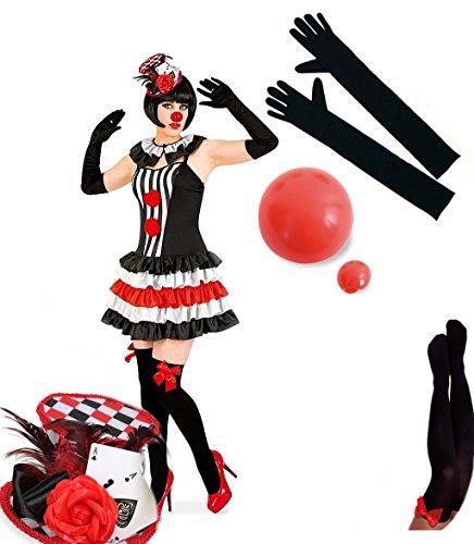 KarnevalsTeufel Sexy Pierette Set Harlekin-Kostüm Verkleidung-Pierrot Damen Rüschen-Rock-Kragen (34, Hut bunt)