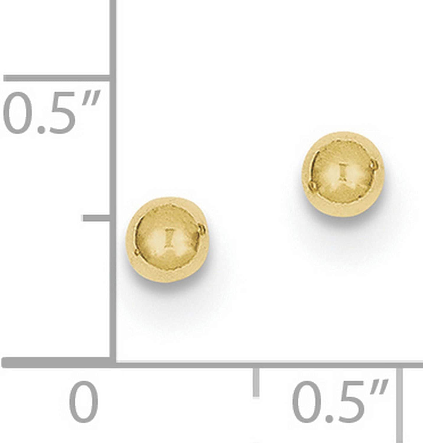 10k Yellow Gold Polished 4mm Ball Post Earrings 4x4 mm