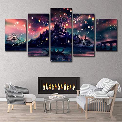 Fresh Look Farbe 5 Stück Wandkunst Bild Hogwarts Castle Kongming Lampe Drucke auf Leinwand Die Landschaft Bilder Öl für Zuhause Moderne Dekoration Druck Dekor für Wohnzimmer Well