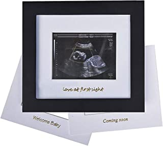 Baby Sonogram Photo Frame - 1st Ultrasound Picture Frame - Idea Gift for Expecting Parents,Baby Shower, Gender Reveal Party,Baby Nursery Decor (Gold Text, Black)
