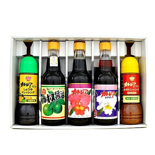 フジヨシ醤油 フジヨシ ギフトセットE (カトレア、カトレアホワイト、しょうゆドレッシング、みそかぼすドレッシング、カボス醤油)