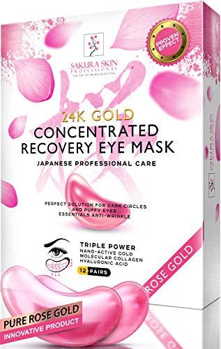 Sakura Skin Eye Pads 24k Rose Gold Eye Mask Anti-Aging Hyaluronic Acid Eye Patches Pink Under Eye Mask for Moisturizing & Reducing Dark Circles Puffiness Wrinkles