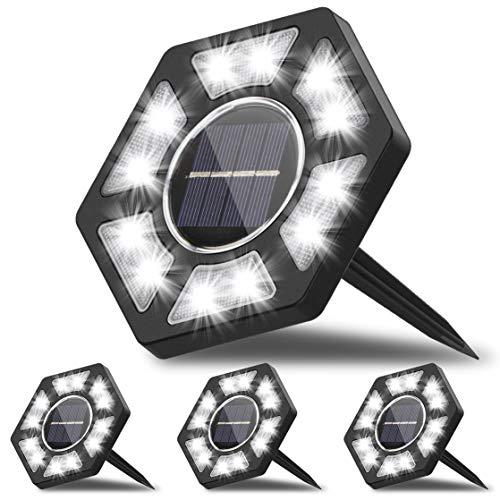 Karvipark Luce Solare Giardino(4 Pezzi),IP67 Impermeabile Lampade Solari Esterno con Luce Bianca, luci Giardino Energia Solare per Scala Paesaggio Strade Aiuola Vialetto
