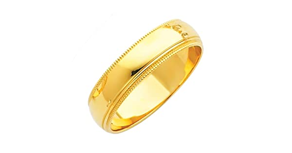 Sonia Jewels 14k White or Yellow Gold 5mm Solid Migraine Domed Traditional Comfort Fit Plain Wedding Ring Band