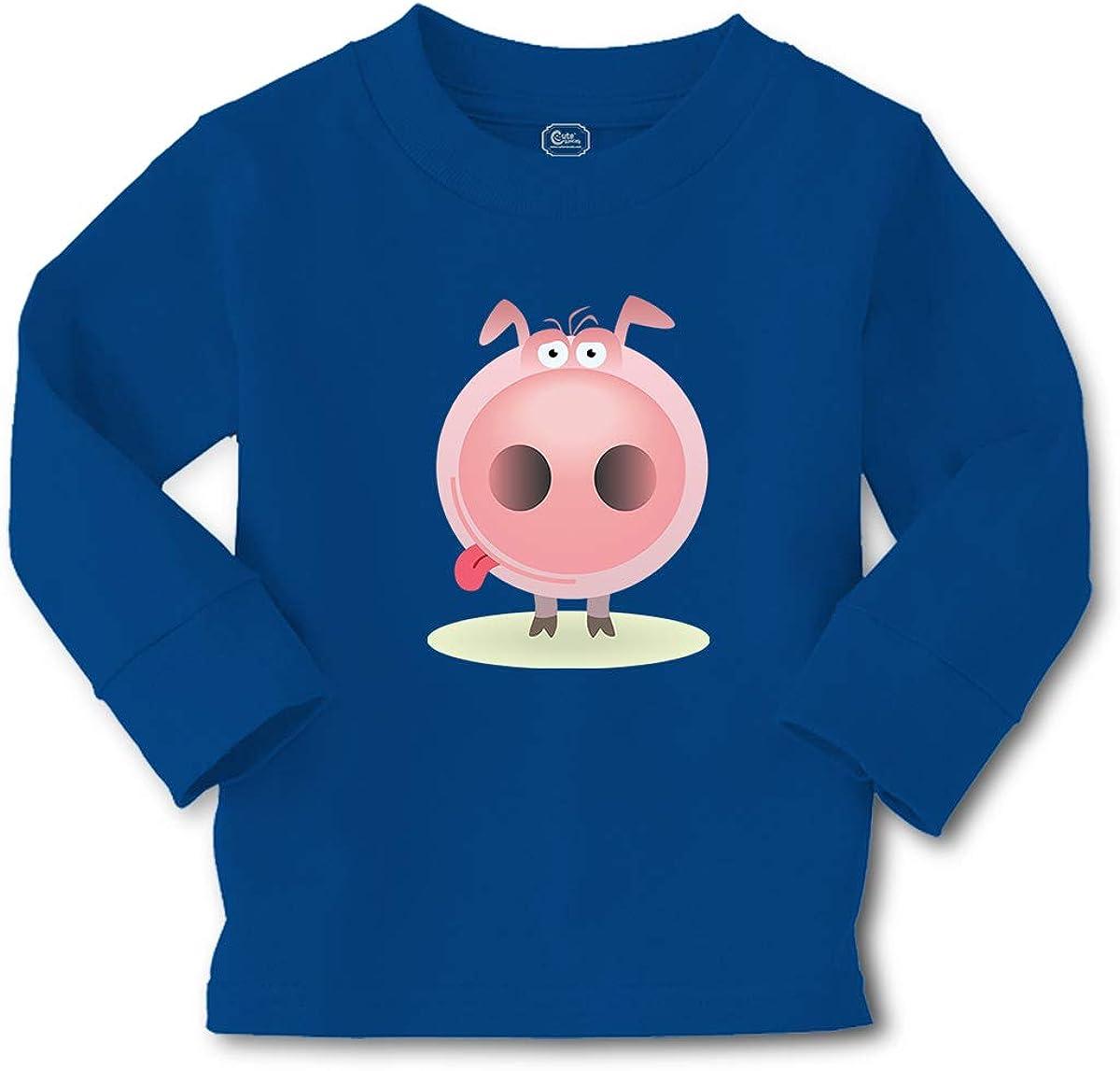 Kids Long Sleeve T Shirt Pig Facing Straight Farm Cotton Boy & Girl Clothes
