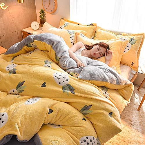 Funda Nordica Cama 150/135 Microfibra-Juego de cuatro piezas de terciopelo de cristal, sábana de una pieza, funda nórdica, funda de almohada, ropa de cama, regalo-PAGS_Hojas de 2,0 m (4 piezas)
