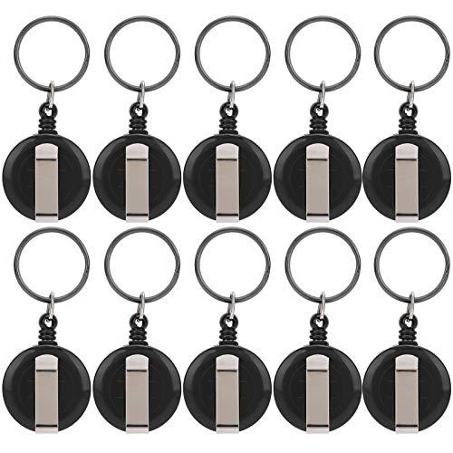 Soportes de insignias retráctiles para trabajo pesado, ligeros, portátiles, pequeños, retráctiles, retráctiles, para llavero, duraderos, 10 piezas para colgar tarjetas de identificación