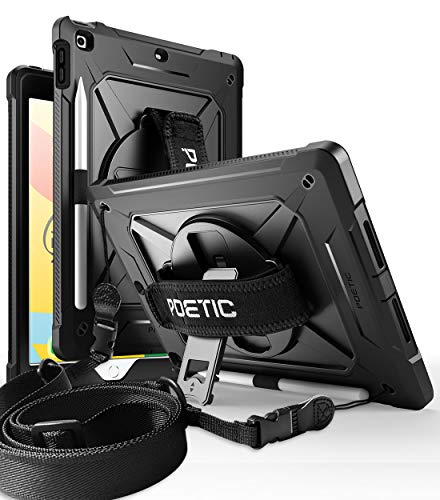 Poetic Spinner Series Case for iPad 10.2 7th Generation 2019 / 8th Generation 2020 Kickstand Case, 360 Rotating Hand Strap, Full-Body Heavy Duty Shoulder Strap Case, Built-in-Screen Protector, Black