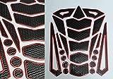 Tankpad Tankschutz Motorrad Carbon Optik 3D universell Tankschutz Schwarz Rot