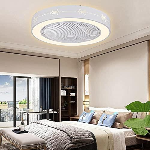 Ventilador de techo de 23 pulgadas, luz regulable, lámpara de techo, tres colores, 3 velocidades de viento con mando a distancia, para habitación de los niños, salón, estudio, dormitorio
