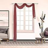 Boyouth - Cortina de gasa transparente para decoración de ventanas y ventanas, color liso y elegante, para decoración de ventanas largas, para salón, dormitorio, boda