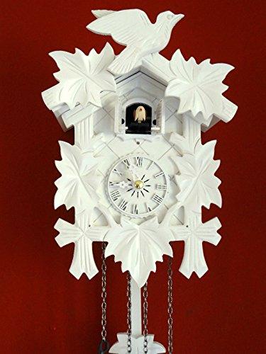 Engstler Weiße Schwarzwälder Kuckucksuhr Quarzwerk geschnitzt CLOCKVILLA HETTICH -Uhren