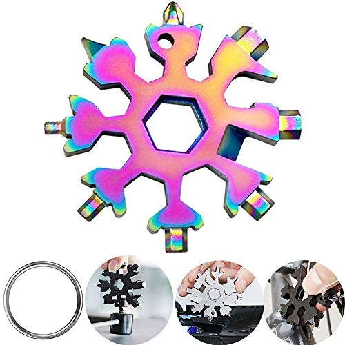18-in-1 Snowflake Multi tool, Stainless Steel Snow Multitools Bottle Opener, Cool Gadgets Christmas gift Idea. (Colorful)
