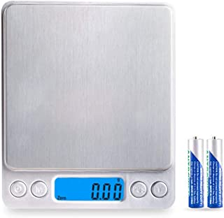 Digital Kitchen Scale, Accurate 0.01g-500g Pocket Scale With Blue LCD Display, 6 Weighting Units Conversion,2 Trays(Different Size)Auto Off,Tare and PCS Function Batteries Included