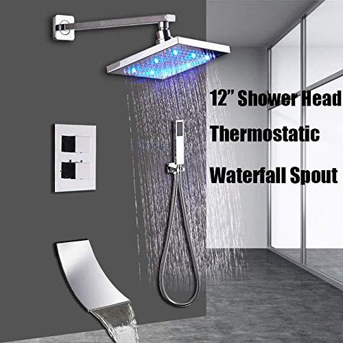 Pantalla LCD digital Conjunto de grifo de ducha Cabezal de ducha LED de 12 pulgadas Cartucho de grifo de 3 funciones Válvula Tubo de rotación de 360 grados Caño termostático tipo a