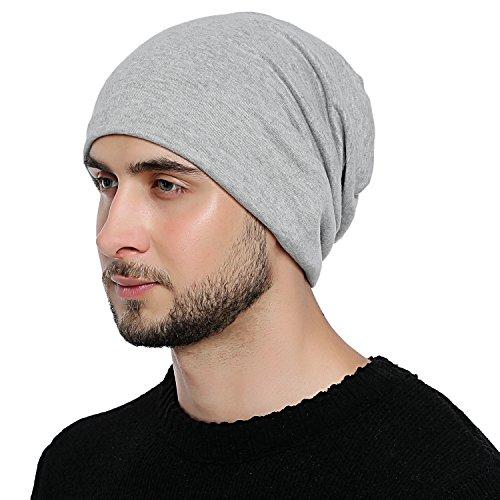DonDon Hombre Jersey Gorro para todo el año clásico flexible gorro transpirable suave y adaptable a cualquier talla de cabeza - Gris claro