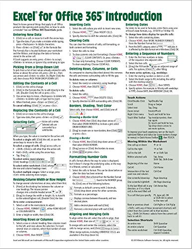 Microsoft Excel for Office 365 Introduction Quick Reference Guide - Windows Version (Cheat Sheet of Instructions, Tips & Shortcuts - Laminated Card)