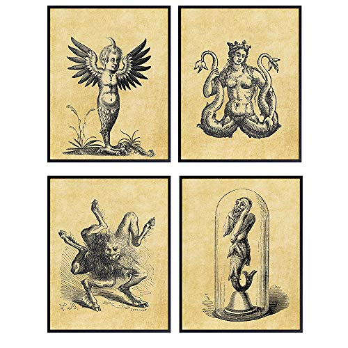 Vintage Goth Gothic Wall Art Prints - Mythical Creatures, Gargoyle Home Decor Poster Set- 8x10 Chic Home Decor for Man Cave, Rec Room, Bedroom, Living Room, Bar - Gift for Steampunk Fan