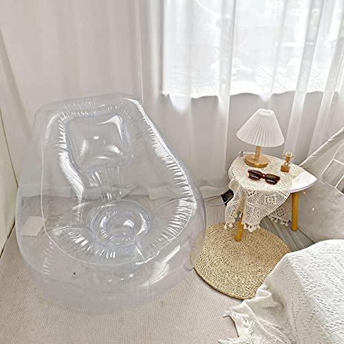 qiyifang Transparentes Aufblasbares Couch-Stuhl-Sofa, Campingmöbel, Blow-Up-Couch-Stuhl, Für Zuhause/Büro/im Freien/Reisen/Camping/Picknick/Schwimmbad