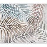 murando Carta da parati Foglie tropicali 450x315 cm Fotomurali in TNT Murale alla moda Decorazione da Muro XXL Poster Gigante Design Carta per pareti Palma beige blu b-A-0763-a-a