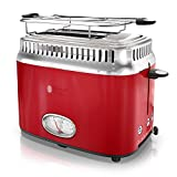 Russell Hobbs Toaster, 2 Slice, Retro Design, Red and Stainless Steel, TR9150RDRC