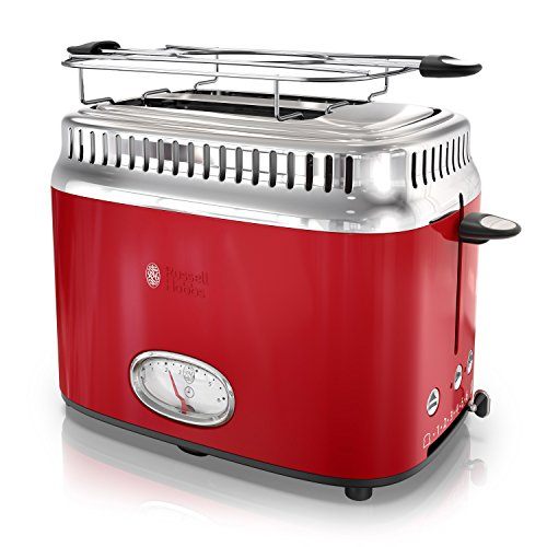 Russell Hobbs 2-Slice Retro Style Toaster, Red & Stainless Steel, TR9150RDRC