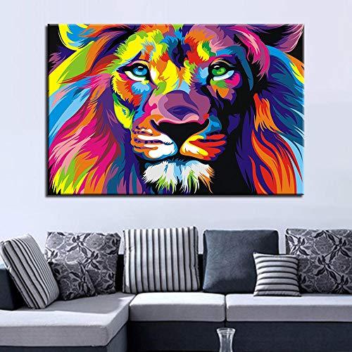 wZUN Pintura en Lienzo Mural HD Impresión Colorida León Pintura Abstracta Sala de Estar decoración del hogar Cartel de Animales 60x90cm Sin Marco
