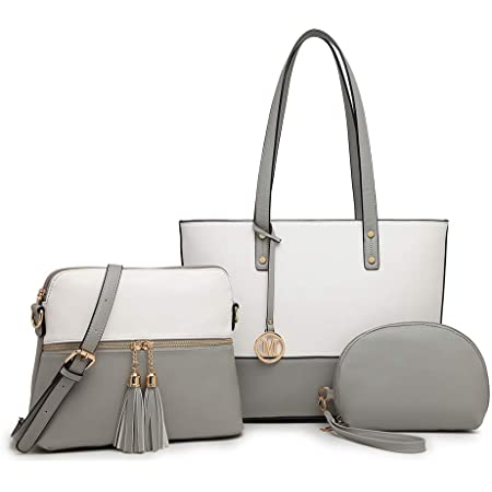 Miss Lulu Handtaschen Frauen Große Kontrastfarbe Einkaufstaschen 3 Stück Set Quaste Umhängetasche Aktentasche für die Arbeit Schule (Grau/Weiß)