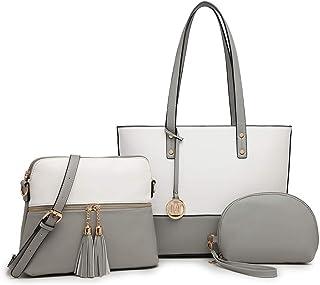 Miss Lulu Handtaschen Frauen Große Kontrastfarbe Einkaufstaschen 3 Stück Set Quaste Umhängetasche Aktentasche für die Arbe...