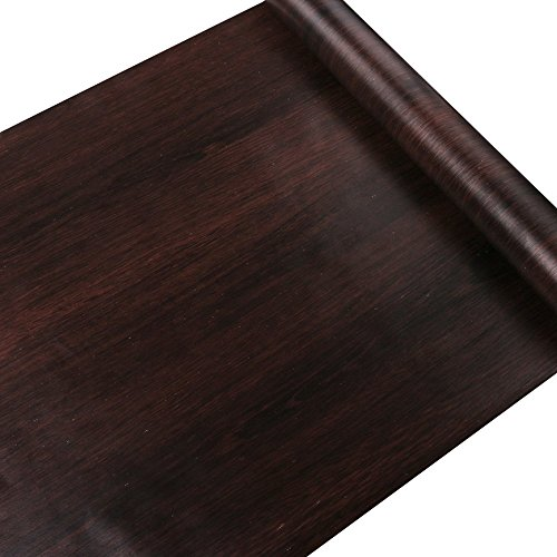 Yifely Dark Coffee Wood Grain Shelving Paper Pre-Pasted Shelf Liner Moisture-Proof Dresser Drawer Sticker 17.7 Inch by 9.8 Feet