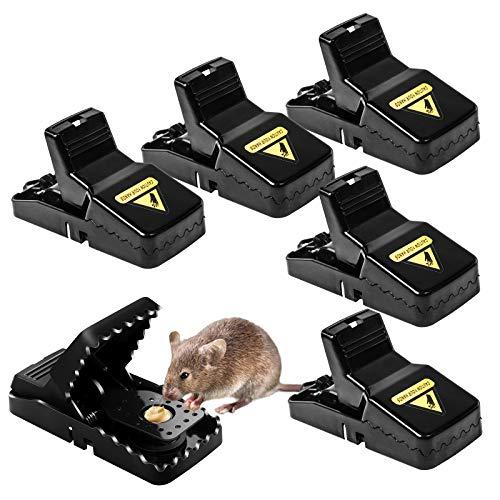 Mausefalle, Wiederverwendbare Sofort Töten Rattenfallen Schlagfallen, Hygienische und Effektive Mäusefalle mit Abnehmbarer Köderschale, Hochempfindliche Rattenkiller für Drinnen & Draußen, 6er-Pack