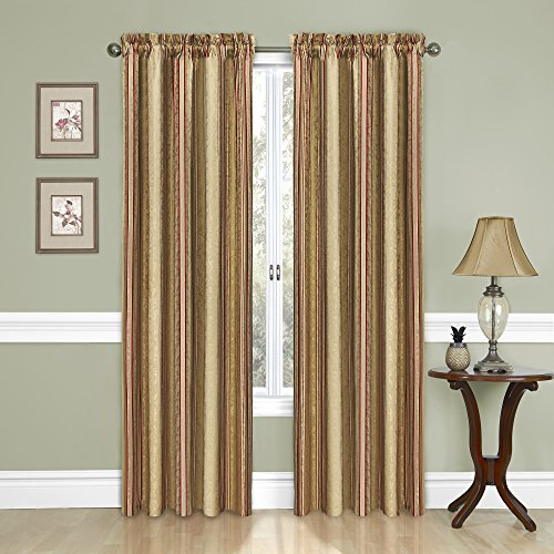 """Traditions by Waverly Stripe Ensemble Rod Pocket Curtains for Living Room, Single Panel, 52"""" x 84"""", Antique"""