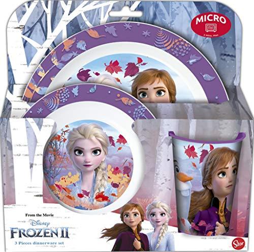Frozen - Die Eiskönigin Kinder-Geschirr Set mit Teller, Müslischale und Becher