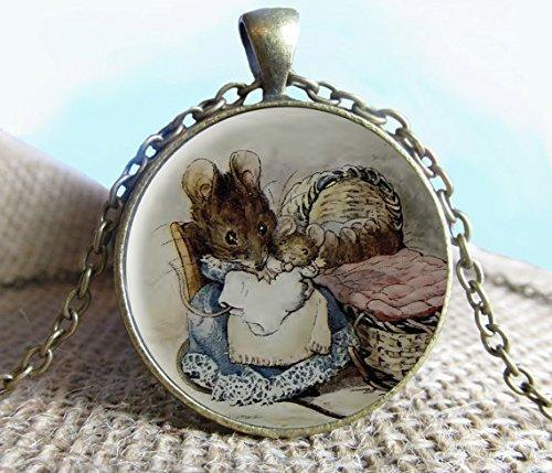 Beatrix Potter - Colgante de 2 ratones malos, joyería de collar, joyería, cuento de hadas