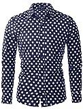 uxcell Men's Shirts Polka Dots Long Sleeve Slim Fit Printed Navy Blue Dress Button Down Shirt 42