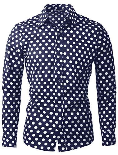 uxcell Uomo 100% Cotone Polka Pois Manica Lunga Sottile vestibilità Abito Camicia Blu Navy 52