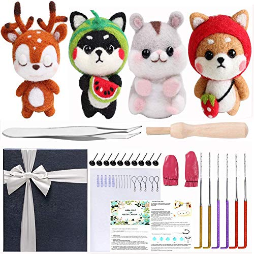 Needle Felting Kit 109Pcs Set WEST BAY Wool Roving 36 Colors with Complete Felt Tools and Storage Box Needle Felting Starter Kit for DIY Craft Animal Home Decoration Christmas Gift