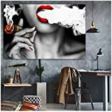 yhyxll Frau raucht Poster drucken Wand Ölgemälde Bild drucken auf Leinwand Idee kreative Home Decoration drucken auf Leinwand-70x100cm ohne Rahmen