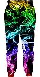 Loveternal Unisex 3D Impresión Pantalones Humo de Colores Baggy Workout Joggers Patriotic Sweatpants Chándal para Hombres Mujeres S