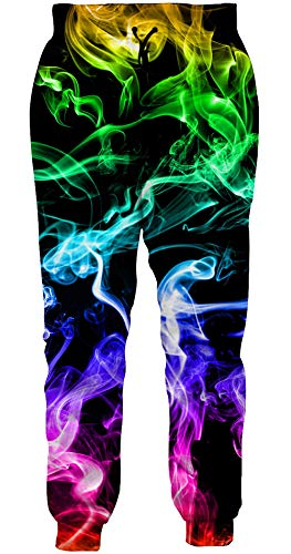 Loveternal Jogginghose Herren Colorful Smoke 3D Gedruckt Coole Jogger Lustige Hosen Lässige Workout Sweatpants für Jungen Mädchen L